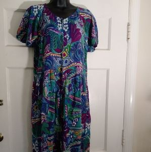 Vintage 90s rayon print rompers jumpsuit small